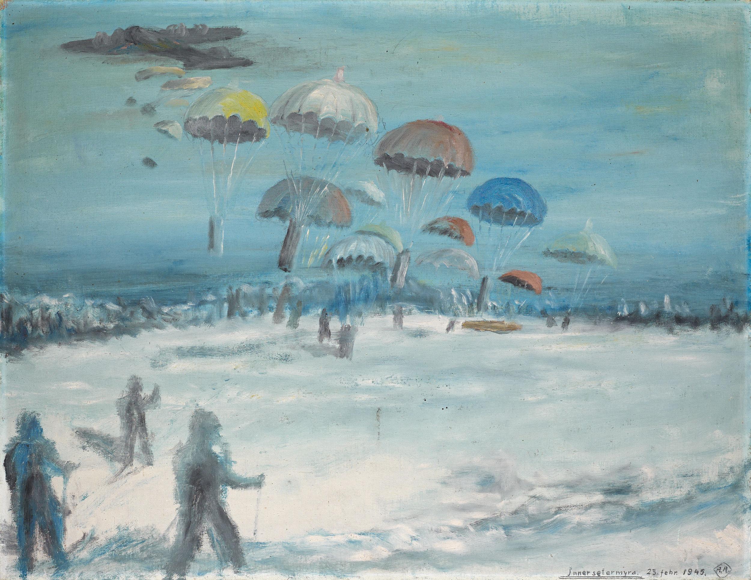 Maleri av Arvid Arnesen som viser slippet.